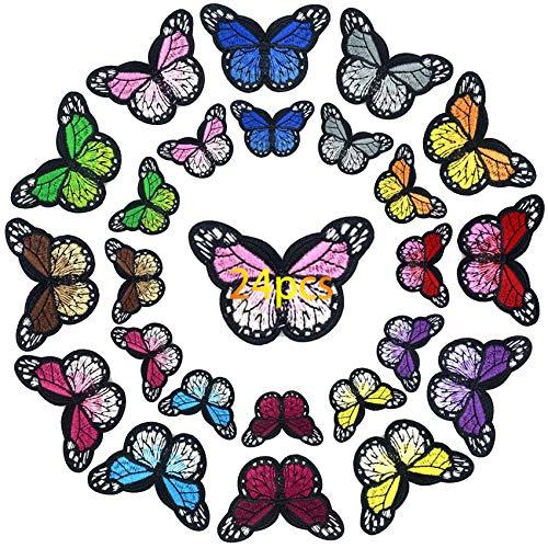24 Sticker zum Aufbügeln,Schmetterling Bügelflicken,Patches zum Aufbügeln Set,Aufnäher Patches Sticker Kinder,Hosen Flicken Bügeln Kinder,DIY T-Shirt Jeans Kleidung Taschen,Flicken Patches