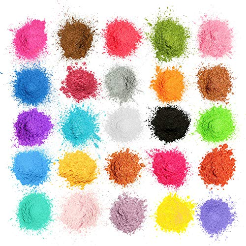 MOSUO Pigmentos en Polvo,5g*25 Colores Natural Mica Tintes p