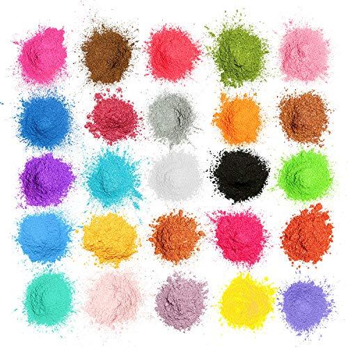 MOSUO Naturale Pigmenti Coloranti, 5g*25 Colori Mica Polvere Colorante Polveri Perlato per Sapone, Slime, Resina Epossidica, Candele, Acquerello, Cosmetici, DIY, Make up