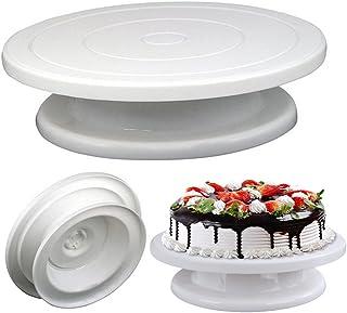 SOEKAVIA ケーキ回転台 ケーキ装飾台 ケーキ作り用 ターンテーブル ベーキング ツール デコレーション用 ケーキスタンド 目盛り PPプラスチック 滑り止め カラーボックス付き