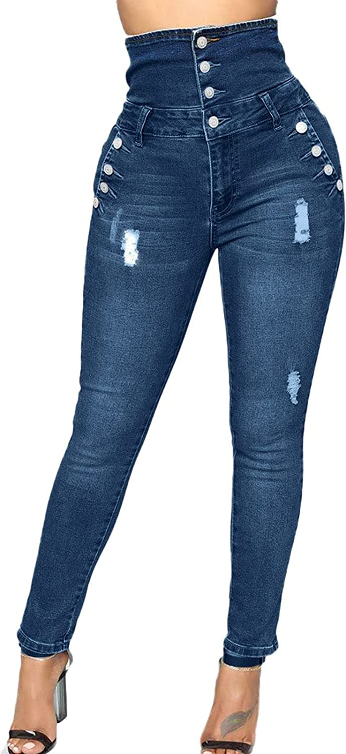 Amazingdays Mom Jeans Super High Waisted Ripped Jeans Womens Skinny Butt Lifting Blue Plus Size Jeans for Women