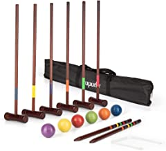 ROPODA Six-Player Deluxe Croquet Set with Wooden Mallets, Colored Balls, Vintage Style, Sturdy Carrying Bag for Adults &Ki...