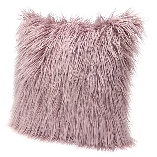 ICOSY Fluffy Pillow Case Mongolian Faux Fur Pillow Cover Super Soft Plush Throw Pillows Fluffy Throw Pillow Cushions Decorative Cushion Covers 45x45CM(NO INSERT)