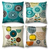 Blisset Decorative Pillow Covers 18x18, Tree and Bired Throw Pillows Covers Set of 4, for Couch Bed,Living Room, Blue Yellow Sunflower Floral Abstract Linen Square Cushions Pillow Cases (03Flower)