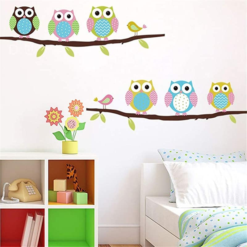 Belegend Cartoon Cute Six Owl On The Tree DIY Wall Wallpaper Stickers Art Decor Mural Kid S Child Room Decal Home Outdoors