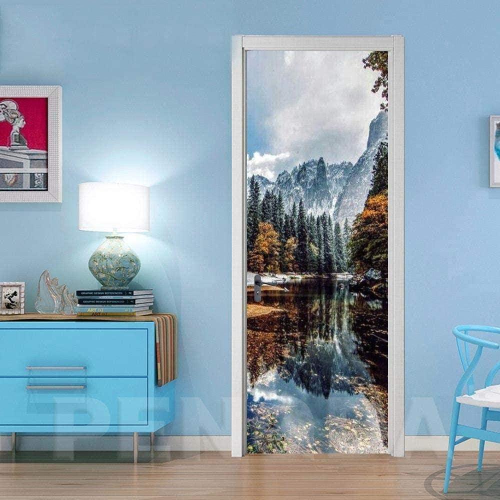 WSNDXZZ Financial sales sale safety 3D Door Stickers Self-Adhesive Woods Green La Waterproof