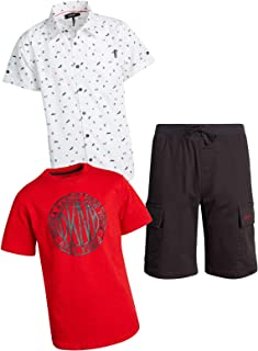 DKNY Boys' 3-Piece T-Shirt, Woven Button Down, and Shorts Set