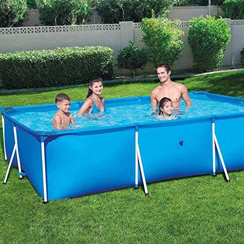 Zenghh Prism Frame Pool Set Family Pool, abnehmbare rechteckigen Pool mit Filterpumpe Wear Pad und Pool-Abdeckung, Halter Unterstützung Garten Außen großen übergroßen Spielzeug-Spiel Water Park 5 Größ
