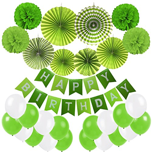 Cocodeko Pancartas de Banderines de Happy Birthday con Pom Poms y Ventilador de Papel Bola de la Flor y 20 Piezas Globos de Fiesta para Decoración de Fiesta - Verde