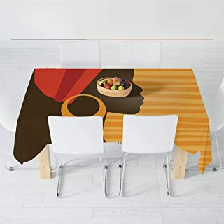 Fashionable Tablecloth,Afro Decor,for Secretaire Square Table Office Table,54.3 X 36.2 Inch,Girl Profile Silhouette with Earrings Grace and