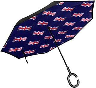 GuiJia Ye UK Flag Union Art Reverse Inverted Inside Out Umbrella - Self Stand Upside-Down Rain Protection Car Reverse Umbrellas with C-Shaped Handle