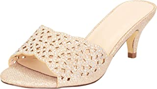 Cambridge Select Women`s Open Toe Laser Cutout Slip-On Mid Heel Mule Slide Sandal
