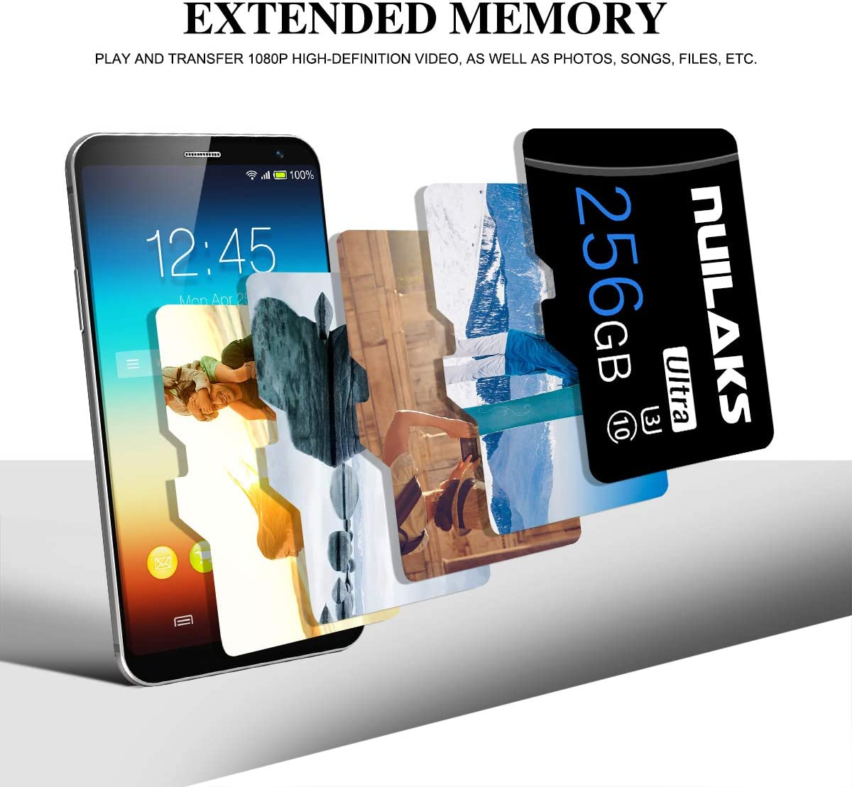 256GB Micro SD Card with SD Card Adapter High Speed Micro SD Memory Card SD Memory Cards for Camera, Smartphone, Tablet, Drone