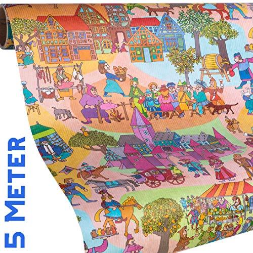 Kinder Geschenkpapier - RITTER und Mittelalter - 5m Rolle Geschenkpapier mit 9x Geschenkanhänger - für Jungs & Mädchen zu Geburtstag, Weihnachten, Ostern, Einschulung - reißfestes Papier