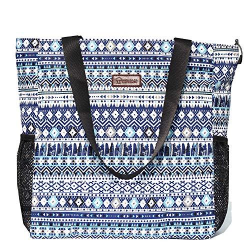Original Floral Water Resistant Large Tote Bag Shoulder Bag for Gym Beach Travel Daily Bags Upgraded ([J] Pattern)