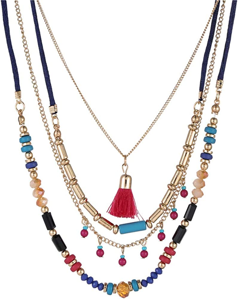 Wisecoon Long Chain Multi Layer Fashion Necklace Crystal Beads Women Party Long Necklace Gift Bohemian Necklace with Tassel