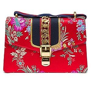Fashion Shopping Gucci Sylvie Red Jacquard Floral Tokyo Silk Small Bag Ribbon