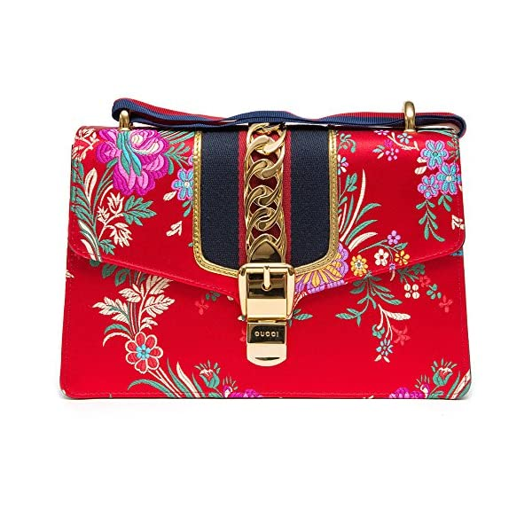 Fashion Shopping Gucci Sylvie Red Jacquard Floral Tokyo Silk Small Bag Ribbon Leather Handbag New