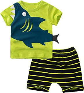 Baby Boy Clothes Funny Shark Short Sleeve T-Shirt Cotton Mini Boss Print Tops and Short Pants Outfits Set