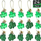 St Patrick's Day Shamrocks Ornament Good Luck Clover Hanging Bauble for Tree Baubles Table Shelf Festival Decorations (24 Pieces)