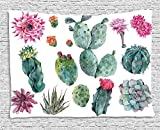 Ambesonne Nature Tapestry, Desert Botanical Herbal Cartoon Style Cactus Plant Flower with Spikes Print, Wide Wall Hanging for Bedroom Living Room Dorm, 60' X 40', Green Pink