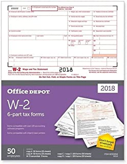 "Office Depot Brand W-2 Inkjet/Laser Tax Forms for 2018 Tax Year, 2-Up, 6-Part, 8 1/2"" x 11"", Pack of 50 Forms"