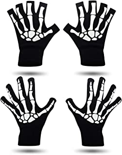 Skeleton Gloves for Halloween, Touchscreen Knit Gloves Full Fingers and Half Fingers for Adults and Big Kids Women and Men Black 2 Pairs