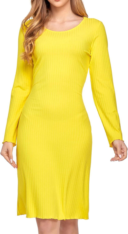 Sylanfia Womens Sexy Bodycon Dress Spaghetti Strap Solid Sleeveless Ribbed Club Party Casual Cami Tank Midi Dresses