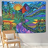 Lyacmy Psychedelic Tapestry Trippy Mountain Tapestry Colorful Tree and Plant Tapestries Burning Sun Tapestry Wall Hanging for Room (59.1 x 82.7 inches)