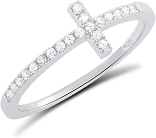 Sterling Silver Cz Thin Stackable Sideways Cross Ring (Size 4-11)