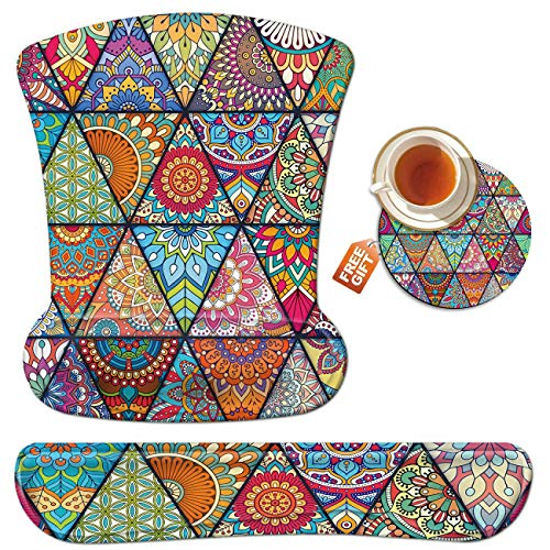 Mouse Pad Wrist Rest Support Set Keyboard Wrist Rest Pad Colorful Diamond Ergonomic Mousepad Memory Foam Comfortable Keyboard Pad Come with A Coffee Cup