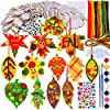 36-Sets-Hanging-Fall-Leaves-Wooden-Ornaments-Craft-Kit-Paintable-Unfinished-Wood-Maple-Oak-Leaf-Cutouts-Pom-Poms-Wiggle-Googly-Eyes-for-Kids-Classroom-Autumn-Thanksgiving-Halloween-Party-Decoration