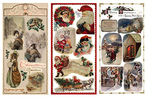 "Decoupage Paper Pack (12 Sheets A4 / 8""x11"") Christmas Eve Santa Lady FLONZ Vintage Ephemera"
