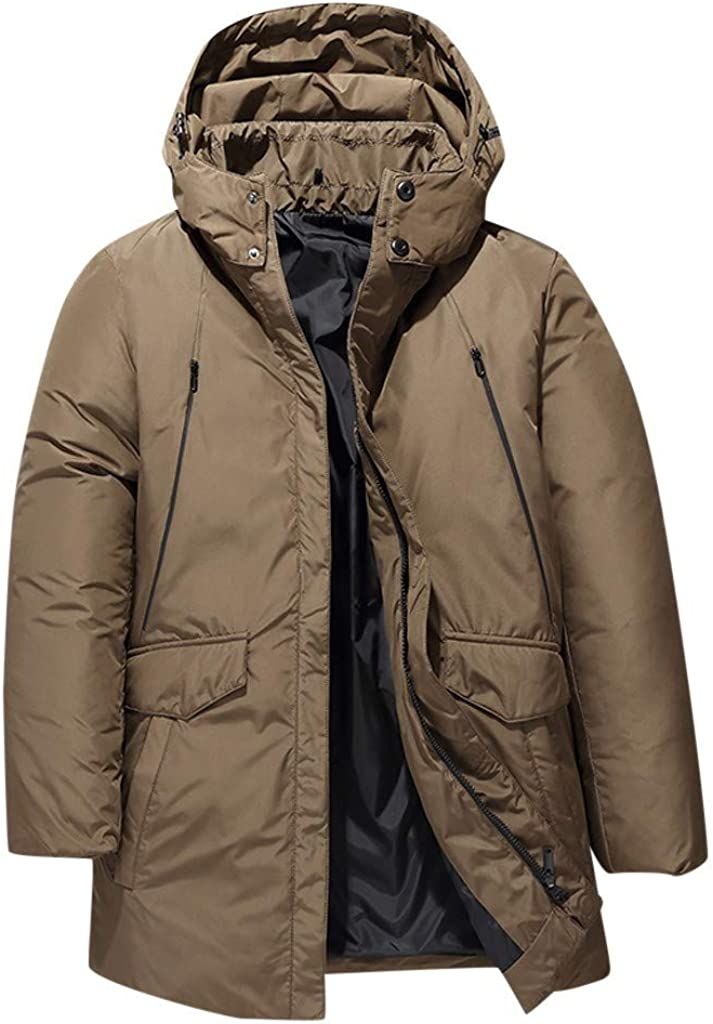 Stoota Men's Lightweight Packable Puffer Down Jacket with Hoodie, Loose Fit Thermal Winter Water-Resistant Coat Outwear
