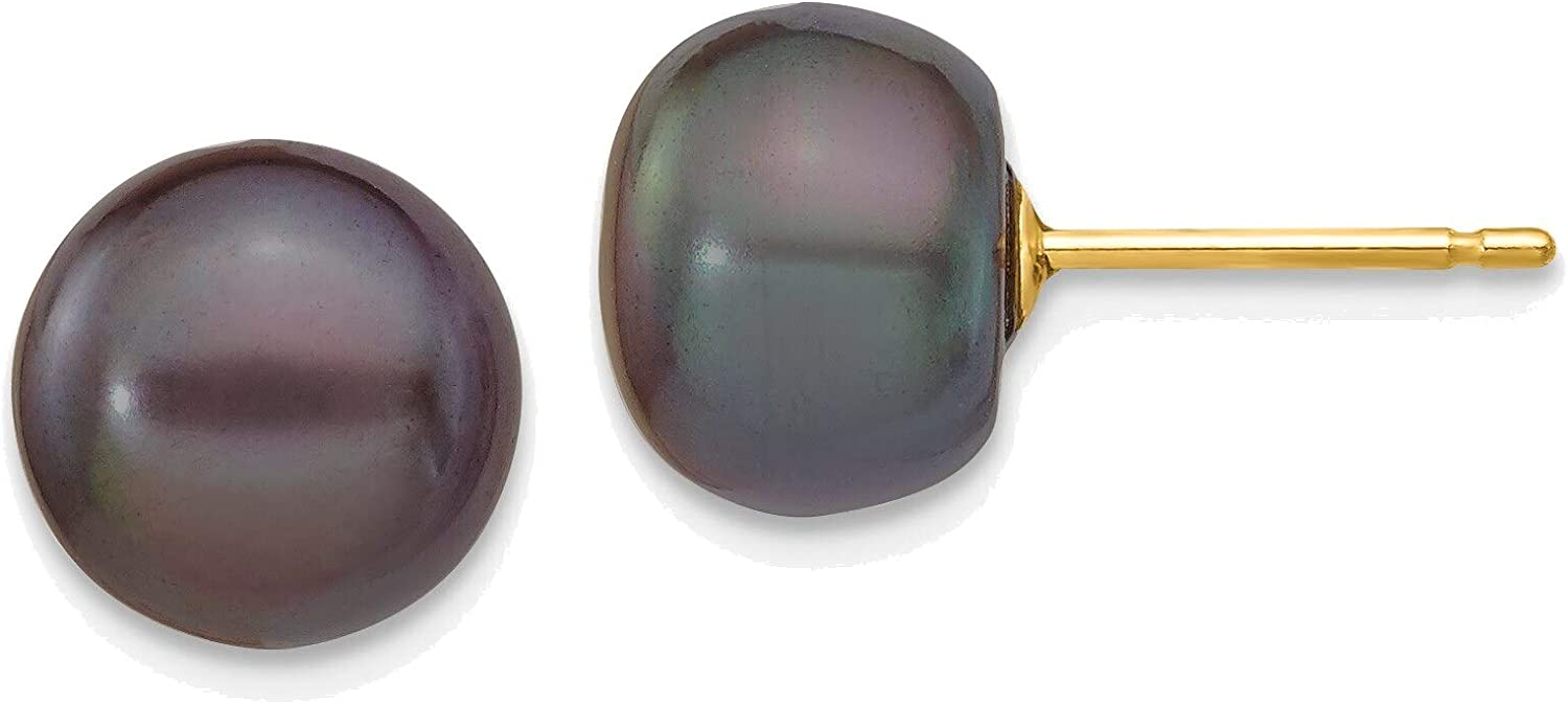 8-9mm Black Button Freshwater Cultured Pearl Stud Post Earrings in 14K Yellow Gold