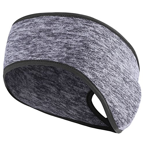 MIFULGOO Women's Ponytail Headband Ear Warmer Head Wrap Yoga Hair Band Running Sweatband (Charcoal-Gray)