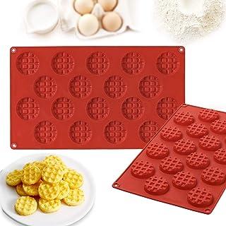 Janolia Molde Horneado, Molde de Silicona para Waffle, Molde Waffle Redondo para Galletas HUM, Waffles, Chocolate, Cubitos