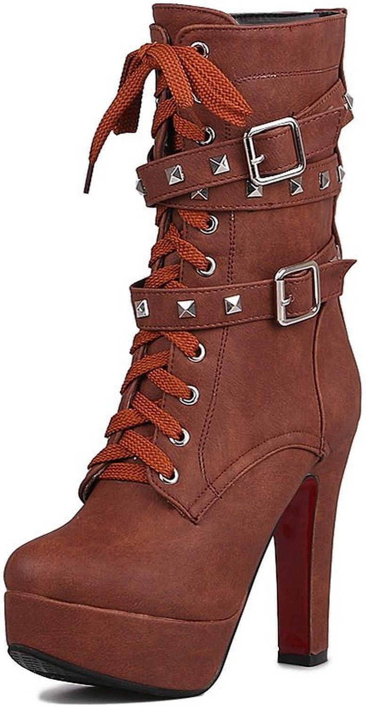 AdeeSu Womens Comfort Slip-Resistant Buckle Grommets Urethane Boots SXC01724