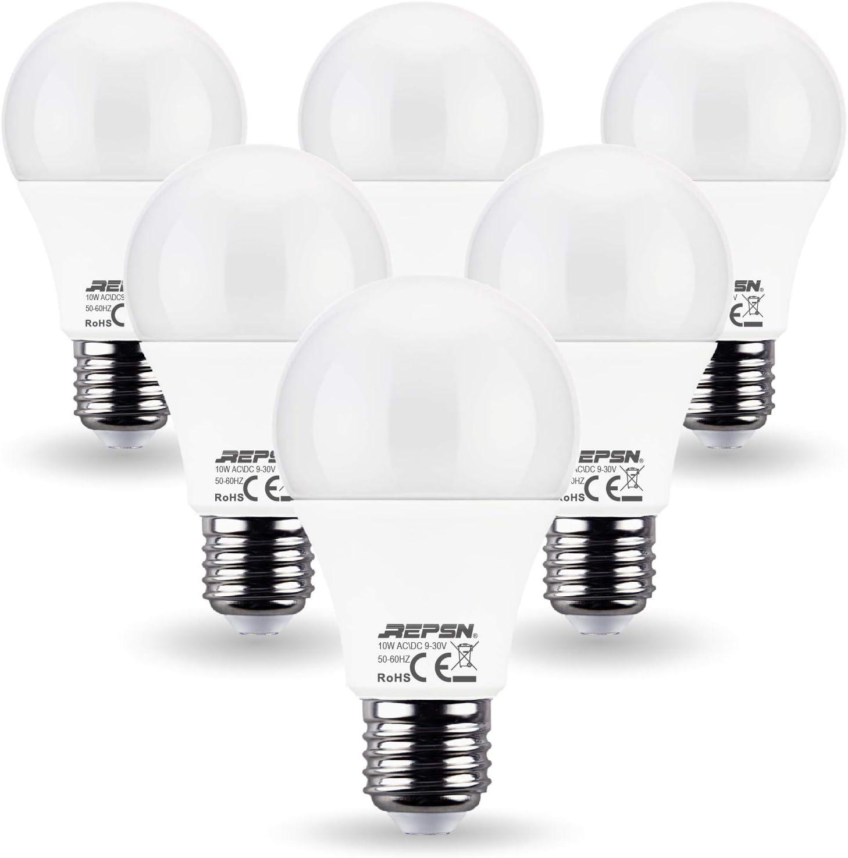 REPSN® Baja Tensión AC/DC 12V 24V 10W=60W Bombillas LED Iluminación de barco marino RV iluminación blanco cálido 2700K Pack de 6