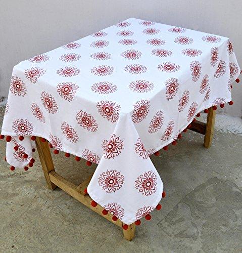 VLiving Nappe de Noël, rouge et blanc Flocon de neige, impression couleur, 100% coton, Pompon, dentelle Tailles disponibles, Coton, Red, 54x108