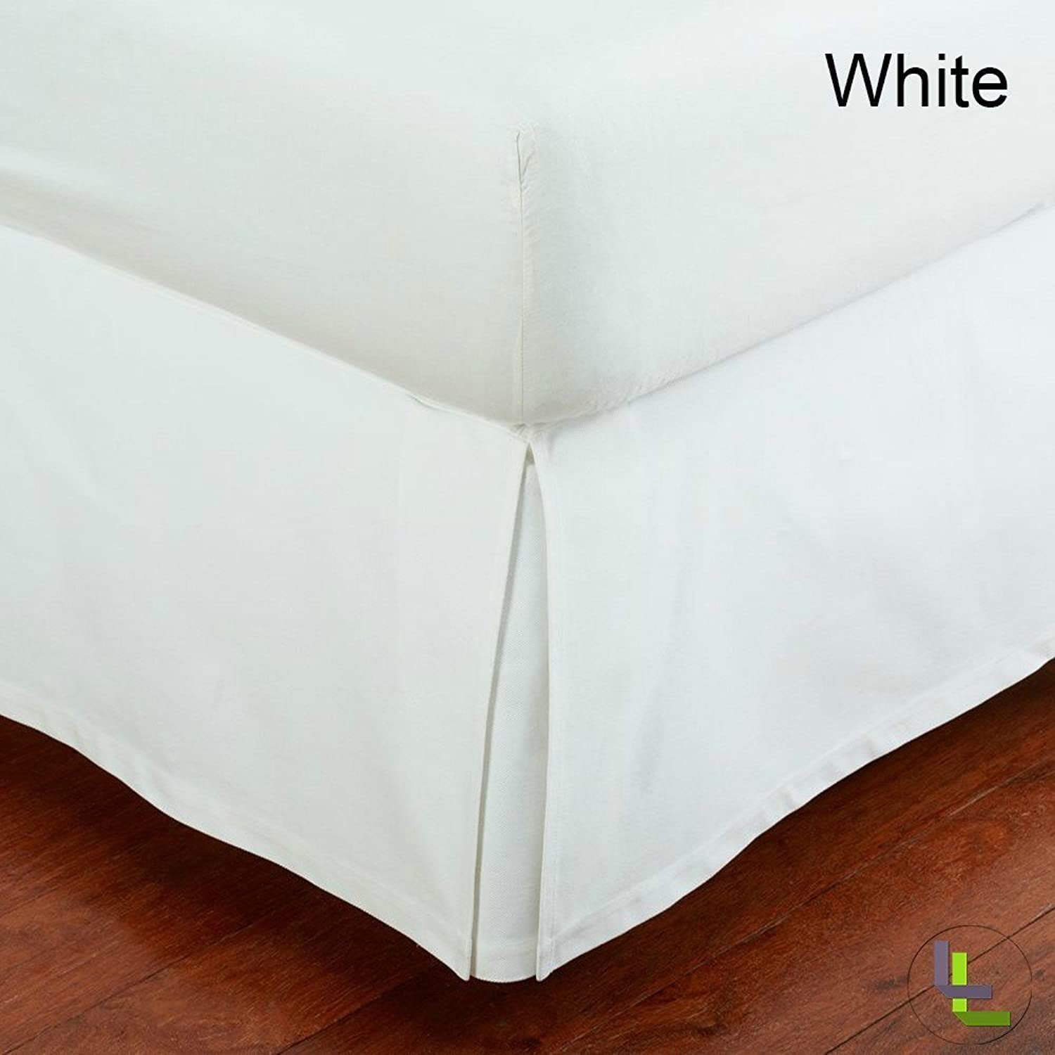 16 Inch Fall Bed Skirt 400 TC Solid Pattern 100% Egyptian Cotton All Sizes & colors (CALKING , White )