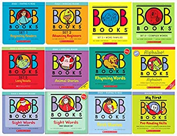 Bob Books Complete Sets Collection  12 Sets  - Set 1 2 3 4 5 Animal Stories Rhyming Words Alphabet Sight Words Kindergarten Sight Words First Grade First Stories Pre-Reading Skills