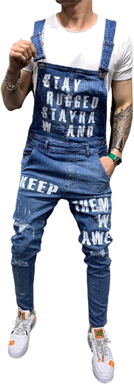 YUIJ Men's Ripped Jeans Jumpsuits,Letter Printing Distressed Denim Bib Overalls,Suspender Pants