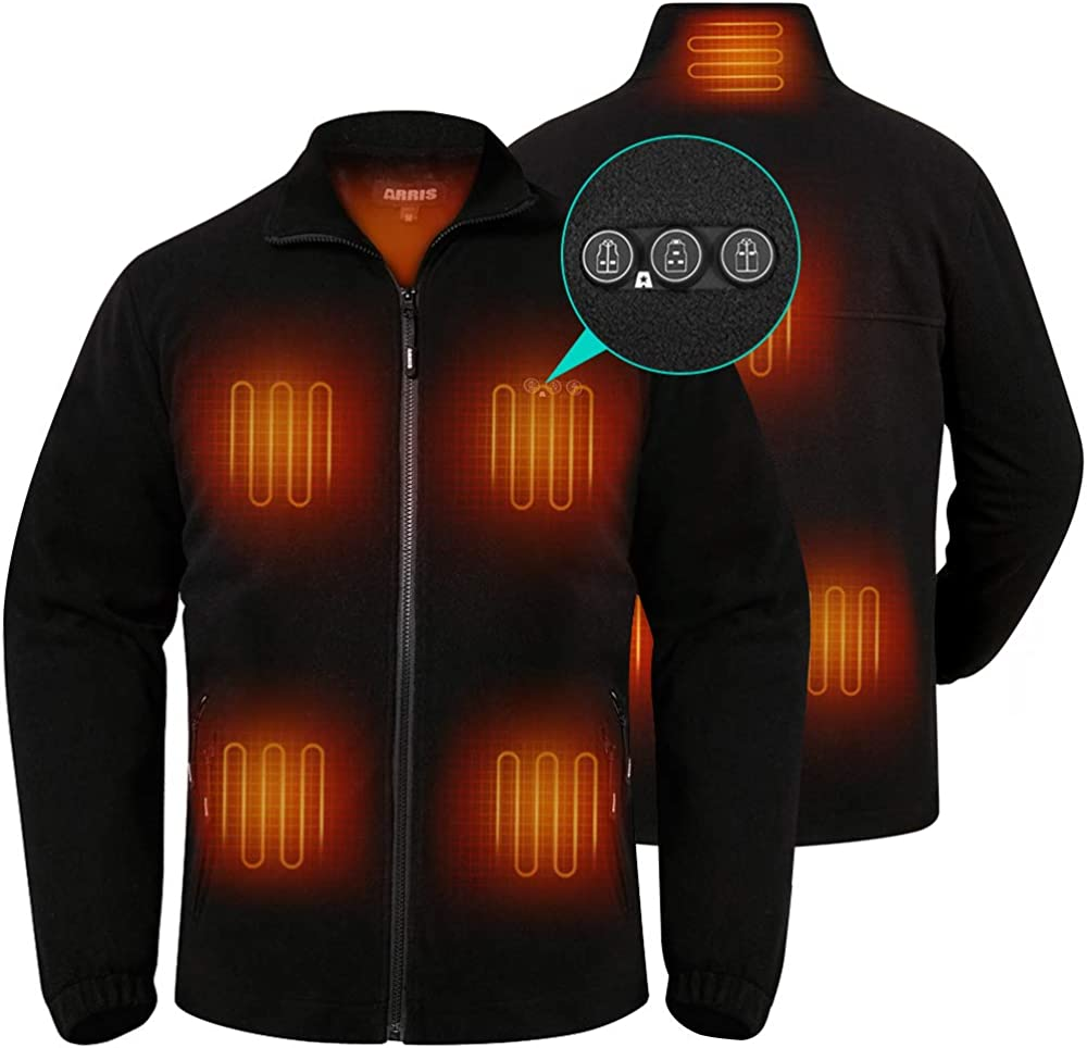 Max 70% OFF Men`s Heated Fleece Sale Jacket with F Coat Electric Heating Battery