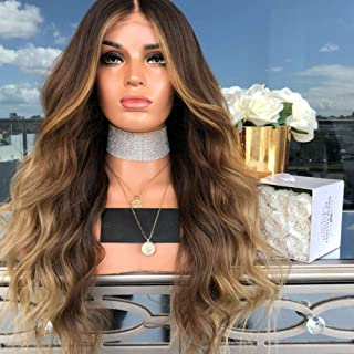 Anself 22'' Natural Soft Long Wavy Ombre Blonde Wig Hair Extensions Synthetic Fiber Hair Wigs High Temperature Heat Resist...