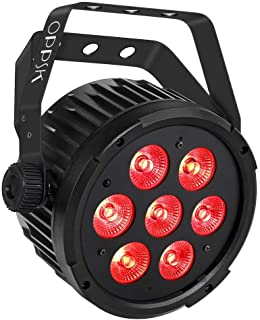 OPPSK Stage Par Light with 70W 7LED Penta Color RGBWA Sound Activated Auto Programm Remote DMX Control for DJ Wedding Party Church Stage Wash Lighting