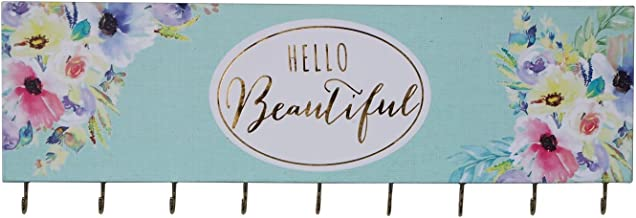 SANY DAYO HOME Jewelry Organizer Wall Mounted Modern Wooden Holder with 9 Hooks and Inspiring Saying for Necklaces, Rings, Earrings, Bracelets and Watches - Hello Beautiful