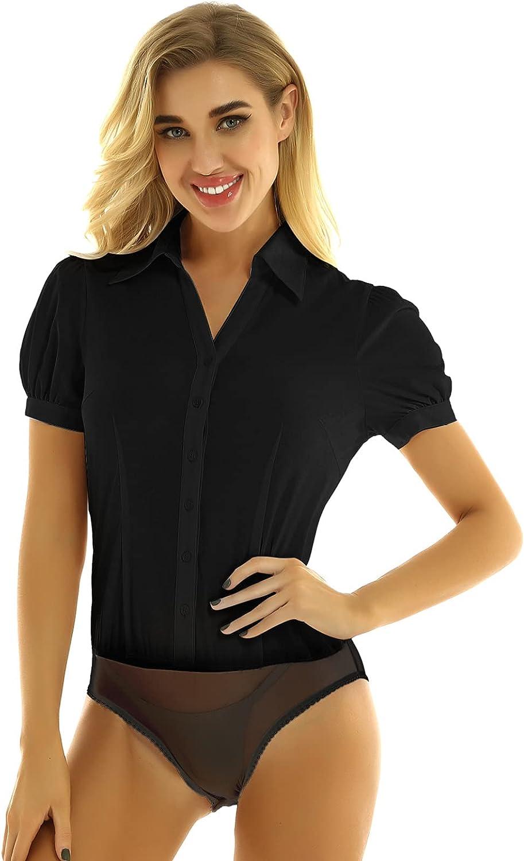 TSSOE Women's Long Sleeve Easy Care Work Bodysuit Button Down Formal Dress Shirts
