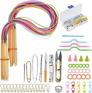 18pcs Aiguilles à Tricoter Circulaires,Aiguilles à Tricoter Circulaires en Bambou,Crochets pour Tricoter avec 58 pièces Ki...