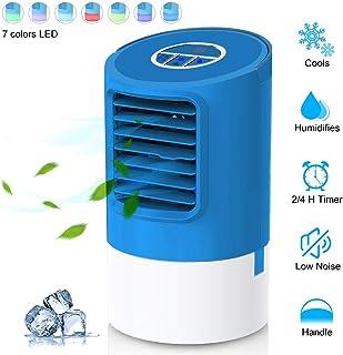 EEIEER Aire Acondicionado Portátil Mini Enfriador 4 en 1 Ventilador Purificador Humidificador Luces Nocturnas de 7 Colores, 3 Velocidades Ajustable y Gran Capacidad de 400ML para Hogar Oficina
